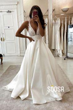 A-Line V-neck Lace Appliques Satin Wedding Dress Bridal Gowns - New ideas Top Wedding Dresses, Wedding Dress Trends, Bridal Dresses, Wedding Gowns, Bridesmaid Dresses, Prom Dresses, Backless Wedding, Wedding Ideas, Rustic Wedding