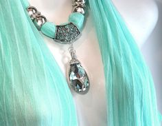 Mint Green Scarf With Jewelry Pendant by RavensNestScarfJewel, $26.00
