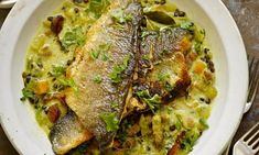 Yotam Ottolenghi's sea bass with lentils and pancetta.