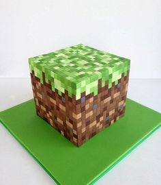 Minecraft Cake for Jerry's birthday. This is what he asked for. Could I even make this? I guess I'd need fondant?