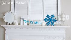 Love this idea! -- from left to right: a large milk glass plate {did i mention i collect them?}, snowball candle from PartyLite, 2×4 wood snowmen, snow sweater pillow, wood snowflake {had for years, spray painted blue}, and cotton balls and snowball candles in apothecary jars. {used E6000 to glue candle sticks and jars together to make}.