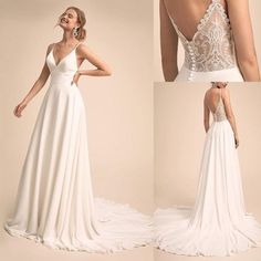 White wedding dress v-neck back wedding dress spaghetti stra.- White wedding dress v-neck back wedding dress spaghetti straps wedding dress - Spaghetti Strap Wedding Dress, Wedding Dresses With Straps, V Neck Wedding Dress, White Wedding Dresses, Prom Dresses, Bridesmaid Dresses, Spaghetti Straps, Simple Elegant Wedding Dress, Elegant Dresses