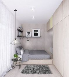 modern small bedroom ideas podium bed wardrobe neutral color gray bedding set