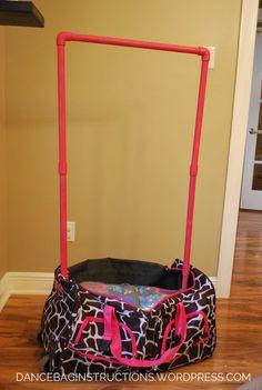 How to make your own rolling dance bag with garment rack – DIY dance bag instructions Dance Bag Duffle, Diy Duffle Bag, Rolling Duffle Bag, Rolling Bag, Costume Bags, Ballet Bag, Baby Ballet, Ballerina, Dance Crafts