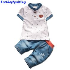 Kids Clothing Sets for Boy Summer Short Sleeve T-shirts  Jeans Cool Denim Fashion Shorts Suit  Children Clothes Toddle Suits. Yesterday's price: US $18.00 (14.88 EUR). Today's price: US $10.08 (8.29 EUR). Discount: 44%.