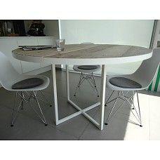 'Ringsted' industriele ronde tafel steigerhout/rond frame