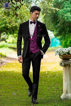 Traje de novio italiano a medida en tejido new performance negro, chaleco a contraste brocado fucsia modelo 1062 Ottavio Nuccio Gala colección Fashion 2015.