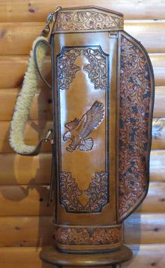 Items similar to Leather Golf Bag, Hand tooled and carved, one of a kind on Etsy Tandy Leather, Leather Art, Leather Gifts, Leather Design, Tooled Leather, Leather Tooling Patterns, Leather Pattern, Leather Craft Tools, Leather Projects