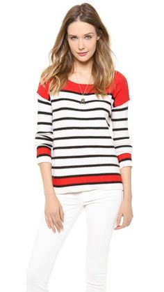 $110.60 on @Keaton Row website, arranged with full of fashion... click to see it in action. Breton stripes mix with bold colorblocking on a relaxed Splendid pullover. Reversed seams add modern appeal. Ribbed round neckline and high-low hem. Dropped shoulders. Long sleeves.  Fabric: Knit. 37% nylon/25% viscose/13% cotton/13% wool/10% angora/2% cashmere. Dry clean. Imported, China. MEASUREMENTS Length: 24in / 61cm, from shoulder