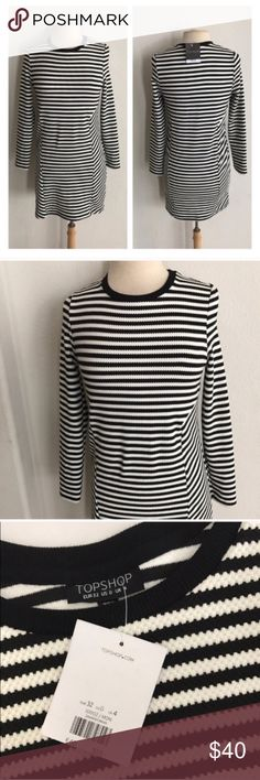 """Topshop b/w striped dress Topshop black and white dress. Size 0. Form fitting, yet stretchy. Measures 32"""" long with a 34"""" bust. 63% polyester/ 32% cotton/ 5% elastane. New with tags.  🚫NO TRADES 💲Reasonable offers accepted 💰Ask about bundle discounts Topshop Dresses Long Sleeve"""