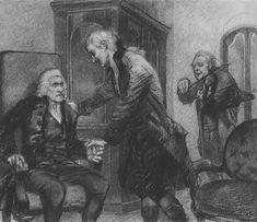 Михаил Врубель » Рисунки и наброски художника » Моцарт и Сальери слушают игру слепого скрипача, 1884