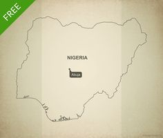 Free map of Nigeria outline - Printable map and editable vector map
