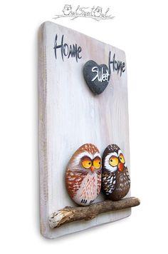 Funny Owl Painted on a Sea Rock   Original Art by Owl Sweet Owl #paintedrocks #rockart #fineart #art #paintedpebbles #paintedstones #owls #owlart #birds #gifts #etsy #etsyfinds #etsyshop #love