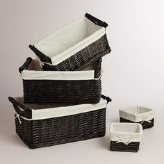 Handcrafted of willow, these Espresso Isabella Baskets provide handy storage space for clothes, books, magazines or other household goods. They feature cotton and polyester lining that makes it easy to hold household items while keeping each basket clean. Small Bedroom Organization, Small Bedroom Storage, Storage Spaces, Organization Ideas, Storage Baskets, Bench Storage, Book Baskets, Woven Baskets, Household Organization