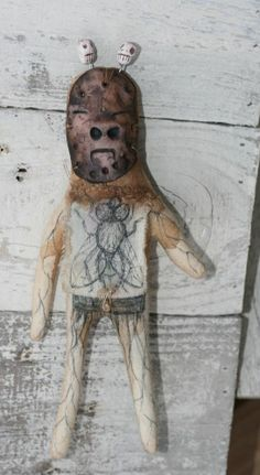 OOAK Primitive Voodoo Doll Creepy Old Religion Folk Art Metaphysical Fly  Witch
