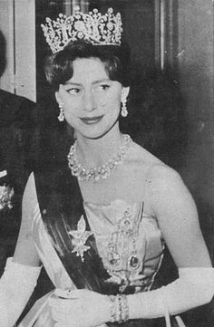 THE POLTIMORE TIARA  TECK HOOP NECKLACE     Princess Margaret, Countess of Snowdon,(1930-2002) wears the Poltimore Tiara; she also wears the Teck Hoop Necklace, which is now owned by her son, Viscount Linley