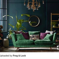 love everything in this beautiful emerald green and brass living room. Except for the purple accent - pinentry.p love everything in this beautiful emerald green and brass living room. Except for the purple accent - pinentry. Living Room Green, Boho Living Room, Living Room Colors, Living Room Sofa, Bedroom Colors, Living Room Interior, Living Room Furniture, Living Room Designs, Living Room Decor