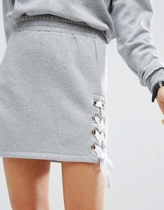 ASOS Mini Sweat Skirt with Lace up Detail