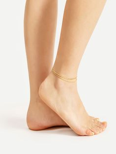Rhinestone - Beaded Embellished Chain Anklet