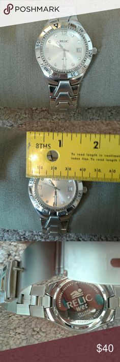 EUC RELIC MENS WATCH Nice, silver tone, stainless steel, water resistent Relic Accessories Jewelry
