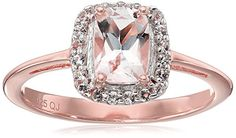 14k Rose Gold Plated Genuine Morganite and White Topaz 925 Sterling Silver Ring Size 7 >>> Be sure to check out this awesome product.Note:It is affiliate link to Amazon. #commentplease