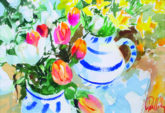 'Springtime with Tulips' - watercolour by Paul Riley