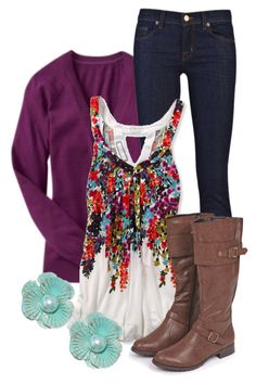 Floral Cami by qtpiekelso on Polyvore featuring American Eagle Outfitters, J Brand and Old Navy