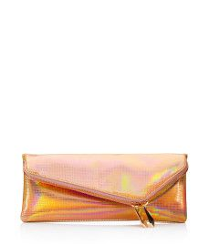 Henri Bendel DEBUTANTE SLIM ASYMMETRIC METALLIC CLUTCH
