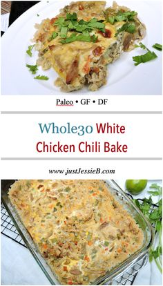 """WHOLE 30 CHICKEN BAKE 1/2 red onion, chopped 1 large carrot, finely diced 2 garlic cloves, minced 1 green bell pepper, chopped 2 tsp cumin 1 tsp coriander 1/2 tsp chili powder 1/2 tsp oregano 2 cups chicken broth* 1/2 cup coconut milk juice of 1 lime, plus more lime wedges for serving 1 1/2 tsp arrowroot flour* salt & pepper, to taste 1 lb boneless, skinless chicken (breasts, thighs, or rotisserie chicken), fully cooked and shredded 12 oz """"riced"""" cauliflower* 3 eggs cilantro"""