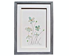 Sea glass art flowers, Genuine beach glass, Pastel home décor, Sea glass new home gift, Framed art birthday gift, Fine art housewarming gift