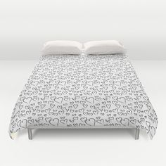 Sketchy Hearts {Black and White} Duvet Cover