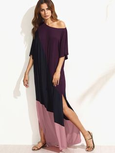 Multicolor Half Sleeve Asymmetric Shoulder Side Slit Tee Dress