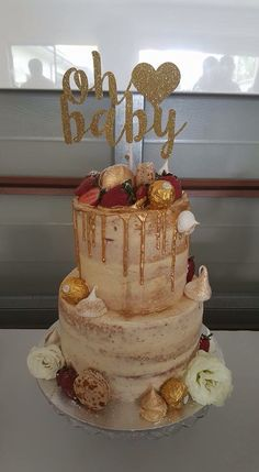 Baby Shower Cake With Gold Dripping Ganache! @sarascustomcakes
