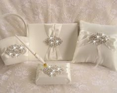 wedding set ring cushion guest book and wedding gift card box - Google Search