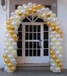 Gold and white balloon arch!!