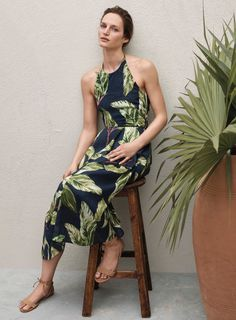 Tropics state-of-mind in a summer-perfect print. Meet the season in our Amalfi Halter Dress, on location during our Summer 2016 shoot.
