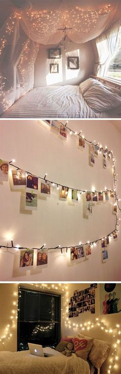 Fairy lights are a lovely source of warm glow, particularly in the evening. Stringing them around walls and dark corners can be really effective.