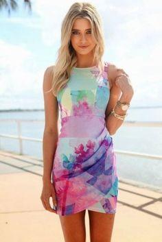 Multi Color Print Sleeveless Mini Dress with Draped Overlay, Dress, sleeveless dress print dress, Chic Looks Chic, Looks Style, Draped Dress, Dress Up, Bodycon Dress, Tulip Dress, Pink Dress, Sheath Dress, Tulip Skirt
