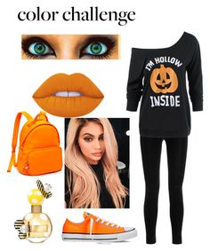 """october colors"" by lovelyfashionstyles ❤ liked on Polyvore featuring Balmain, Converse, Lime Crime, Marc Jacobs, Tommy Hilfiger, orangeandblack and colorchallenge"