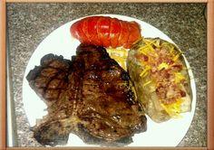 tbone steak, lobster tail and loaded baked potatoe!!