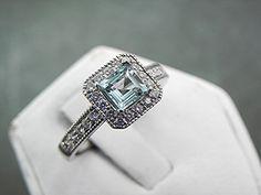5.0x5.0mm .75 Carat Natural Square cut Aquamarine set in 14K white gold diamond ring (.32 carats) 1052
