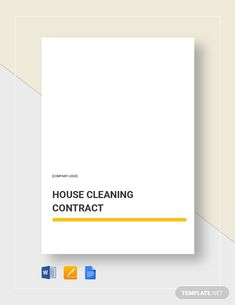 Cleaning Contract Template - Word (DOC) | Google Docs | Apple (MAC) Pages | Template.net Cleaning Contracts, How To Improve Relationship, Business Letter, Cleaning Business, Google Docs, Home Logo, Word Doc, Clean House, Branding Design
