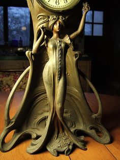 art nouveau figural mantle clock base