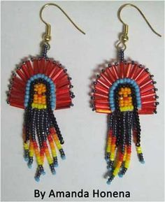 Native American Seed Bead Patterns   Earrings, Native American Indian, beaded chief, 1 inch by 1.9 inches