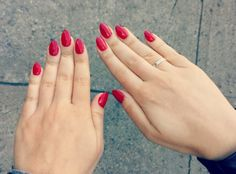 Short almond red nails