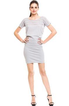 Mesh Stripe Blouson Dress - Dresses - Womens - Armani Exchange