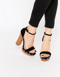 0c403dde279 Lipsy Bella Black Clog Platform Heeled Sandals Clog Sandals