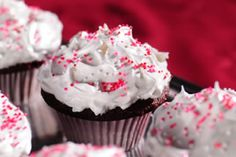 Red Velvet Cupcakes with Fluffy Meringue Icing recipe  via Food Network
