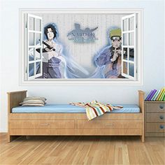 Fangeplus(TM) Naruto Cosplay Anime Advent Shinobi Window View DIY Removable Art Mural Vinyl Waterproof Wall Stickers Kids Room Decor Nursery Decal Sticker Wallpaper 35.4''x23.6'' * Find out more details by clicking the image : home diy wall