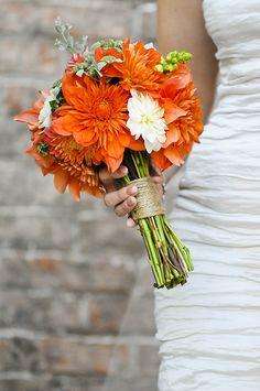 orange dahlia bridal bouquet.. I love dahlias!